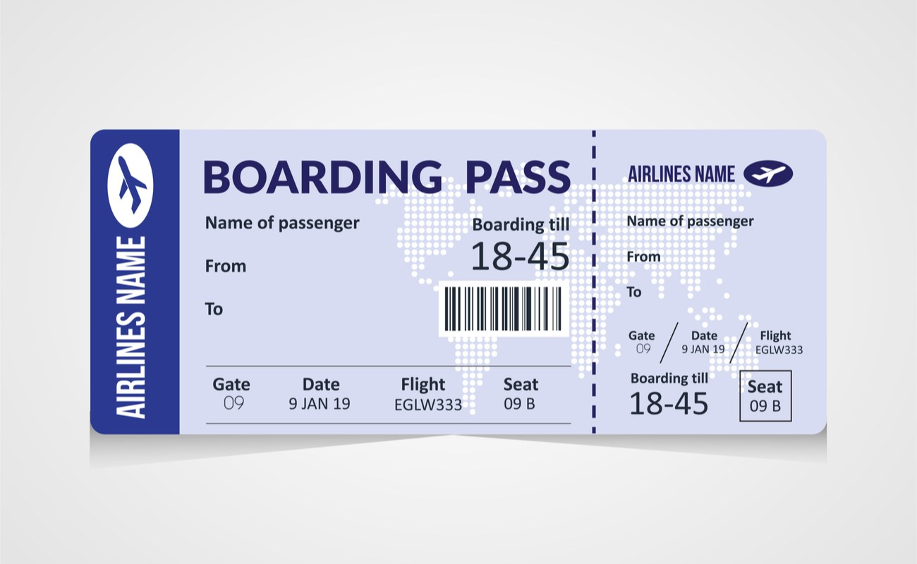Boarding pass template showing details of the passenger name, seat number, flight number, airline name and gate/boarding details.