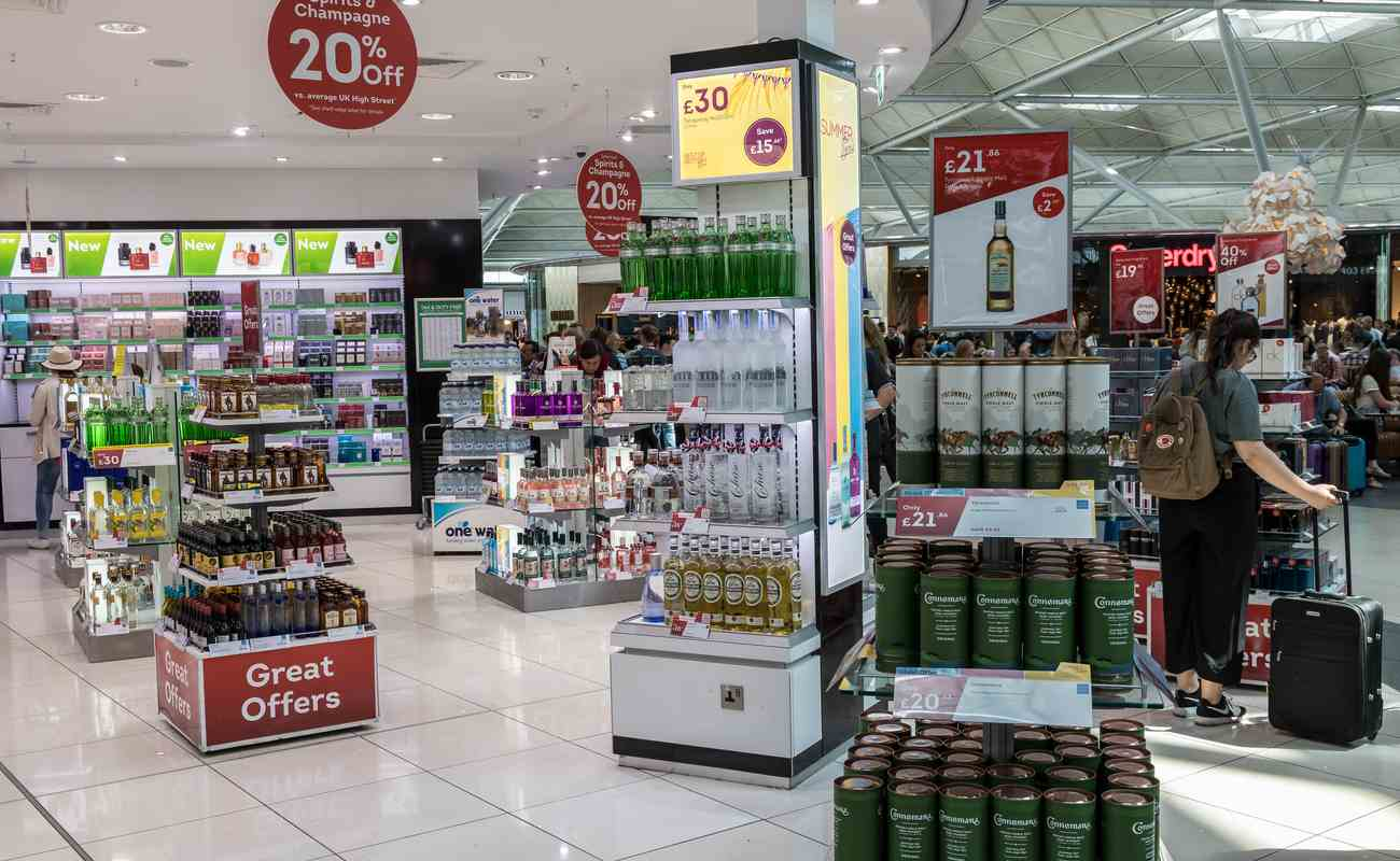 World Duty Free displaying the alcohol section with many of the world's top alcoholic drink brands.